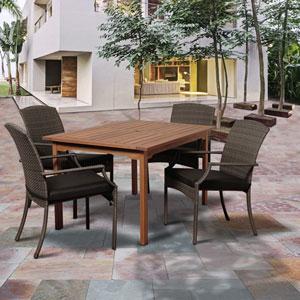 Amazonia Warner 5 Piece Eucalyptus/Wicker Rectangular Dining Set with Grey Cushions