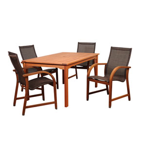 Amazonia Bahamas 5 Piece Eucalyptus Rectangular Dining Set with Brown Sling Chair