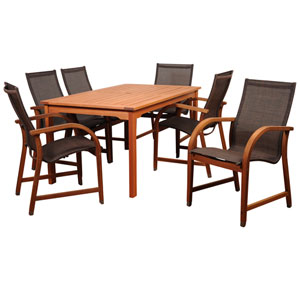 Amazonia Bahamas 7 Piece Eucalyptus Rectangular Dining Set with Brown Sling Chair