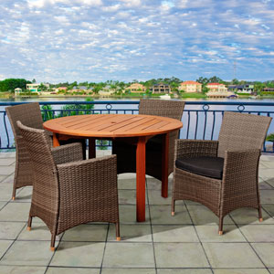 Amazonia Neville 5 Piece Eucalyptus/Wicker Round Patio Dining Set with Grey Cushions