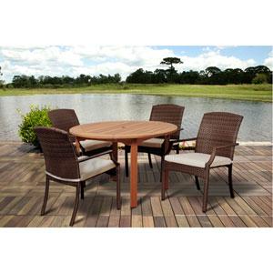 Amazonia Warner 5 Piece Eucalyptus/Wicker Round Dining Set with Off-White Cushions