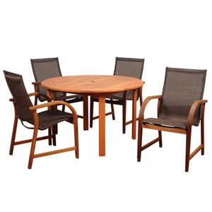 Amazonia Bahamas 5 Piece Ecualyptus Round Dining Set with Brown Sling Chair