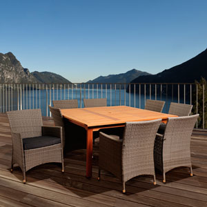 Amazonia Normand 9 Piece Eucalyptus/Wicker Square Patio Dining Set with Grey Cushions