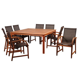 Amazonia Bahamas 9 Piece Eucalyptus Square Dining Set with Brown Sling Chair