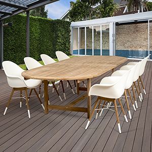 Amazonia Charlotte 9 Piece Teak Double Extendable Rectangular Patio Dining Set
