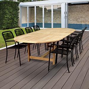 Amazonia Oosterdam 9 Piece Teak Double Extendable Rectangular  Patio Dining Set