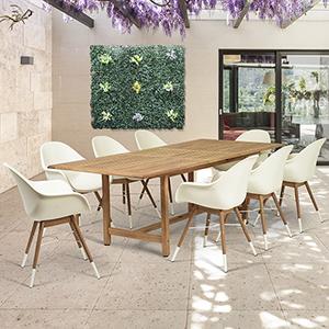 Amazonia Charlotte 9 Piece Teak Rectangular Patio Dining Set