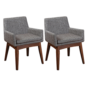 Ruby Mid-Century 2 Piece Dining Chair Set, Coral Textile