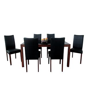 Tatiana Mid-Century 7 Piece Dining Set, Espresso
