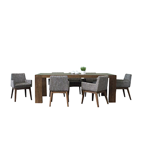 Ruby Deluxe Mid-Century 7 Piece Dining Set, Coral Textile Fabric