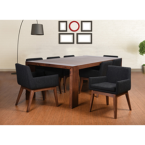 Ruby Deluxe Mid-Century 9 Piece Dining Set, Liqurice Textile Fabric