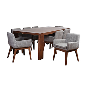 Ruby Deluxe Mid-Century 9 Piece Dining Set, Coral Textile Fabric