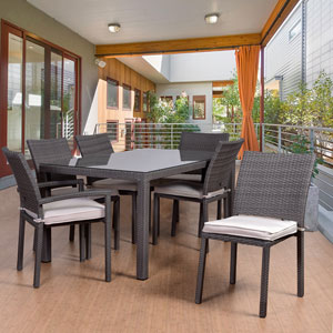 Atlantic Liberty 7 Piece Rectangular Patio Dining Set, Grey