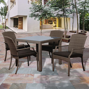 Atlantic Rolland 5 Piece Grey Synthetic Wicker Square Patio Dining Set with Grey Cushions