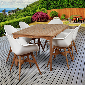 Amazonia Charlotte 7 Piece Teak Rectangular Patio Dining Set