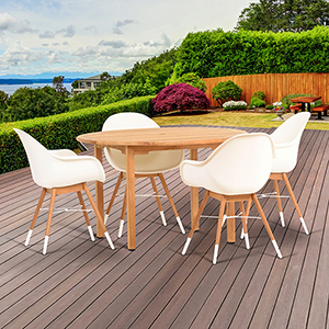 Amazonia Charlotte 5 Piece Teak Round Patio Dining Set