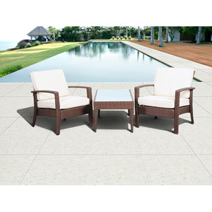 Atlantic Corfu Deluxe Brown Three-Piece Wicker Conversation Set with Off-White Cushions