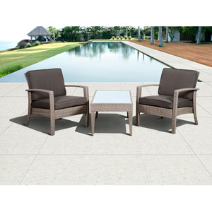 Atlantic Corfu Deluxe Grey Three-Piece Wicker Conversation Set with Grey Cushions