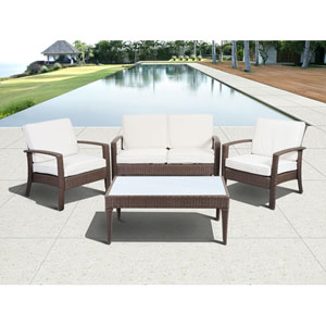Atlantic Corfu Deluxe Brown Four-Piece Wicker Conversation Set with Off-White Cushions