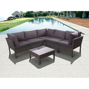 Atlantic Infinity Grey Six-Piece Wicker Seating Set with Grey Cushions