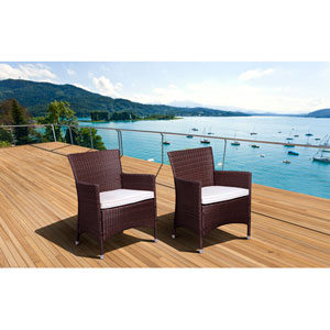 Atlantic Liberty Deluxe Brown Wicker Armchair, Set of Two
