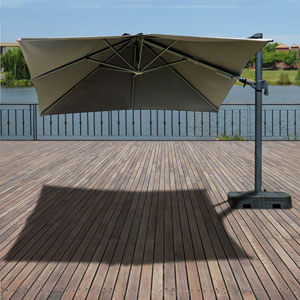 Atlantic Liberty Aluminum Square 10ft x 10FT Patio Umbrela with Base