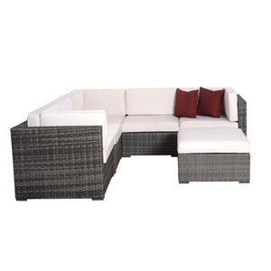 Bellagio Six-Piece Grey Wicker Seating Set with Off-White Cushions