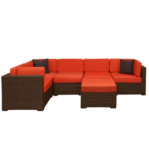 Bellagio Sectional Brown Synthetic Wicker Six-Piece Set With Orange Cushions