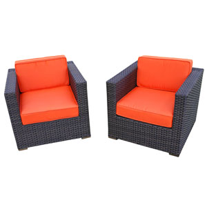 Bellagio Armchair Brown Synthetic Wicker Two-Piece Set With Orange Cushions