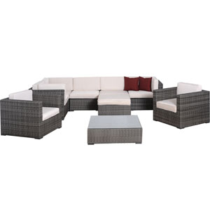 Southampton Nine-Piece Grey Wicker Seating Set with Grey Cushions