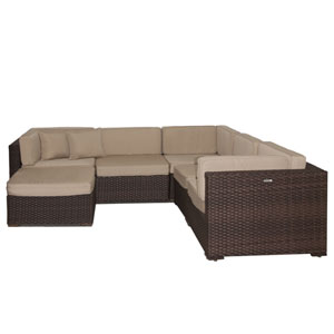 Bellagio Sectional Brown Synthetic Wicker Six-Piece Set With Deluxe Cushions