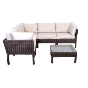 Infinity Six-Piece Dark Brown Wicker Seating Set