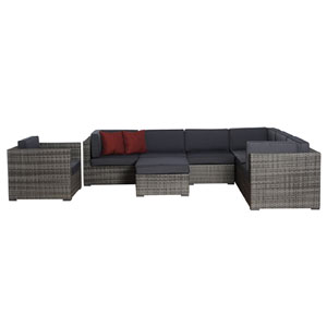 Marseille Eight-Piece Grey Wicker Seating Set with Grey Cushions
