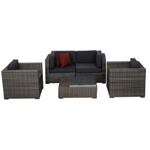 Metz Five-Piece Grey Wicker Seating Set with Grey Cushions