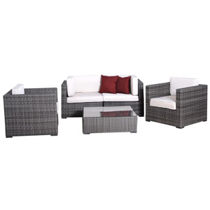 Metz Five-Piece Grey Wicker Seating Set with Off-White Cushions