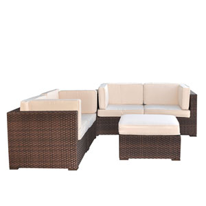 Nice Conversation Brown Synthetic Wicker Five-Piece Set With Off-White Cushions