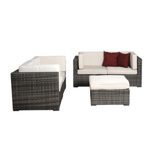 Nice Five-Piece Grey Wicker Seating Set with Off-White Cushions
