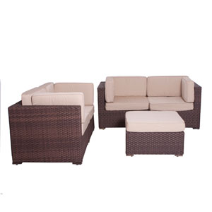 Nice Conversation Brown Synthetic Wicker Five-Piece Set With Deluxe Cushions