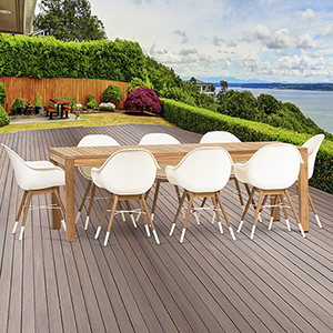 Amazonia Charlotte 9 Piece Teak Rectangular Patio Dining Set