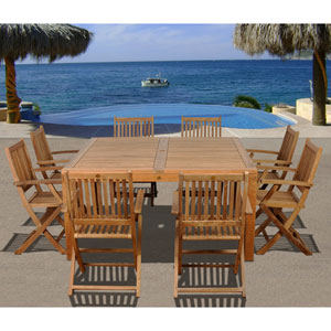Amazonia Dubai 9 Piece Teak Square Patio Dining Set