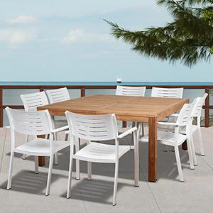 Amazonia Noordam 9 Piece Teak Square Patio Dining Set