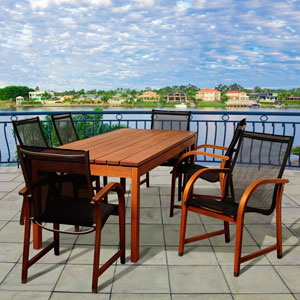 Amazonia Fletcher 7 Piece Eucalyptus Rectangular Patio Dining Set