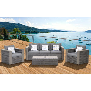 Atlantic Cebu Grey 5 Piece Wicker Patio Conversation Set with Gray Cushions