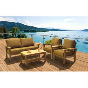 Amazonia Teak Gilli Four-Piece Deep Seating Set with Sunbrella Cushions