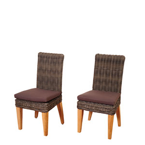 Amazonia Singapore 2 Piece Teak/Wicker Chair Set with Brown Cushions