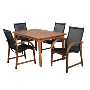 Bahamas Five-Piece Eucalyptus Rectangular Dining Set