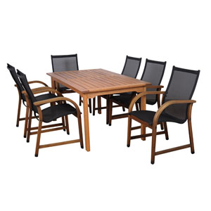 Bahamas Seven-Piece Eucalyptus Rectangular Dining Set