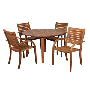 Arizona Five-Piece Eucalyptus Round Dining Set