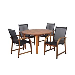 Bahamas Five-Piece Eucalyptus Round Dining Set