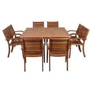 Arizona Nine-Piece Eucalyptus Square Dining Set
